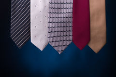 Set of multicolored neckties men's fashion. Royalty Free Stock Photography