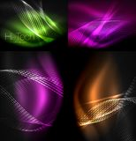 Set of multicolored neon smoke particles waves, vector abstract backgrounds, digital flow wave concept with particles in. Motion, big data idea. Abstract color Stock Images