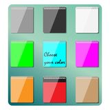 Set of multicolored notepads, vector illustration. Stock Image