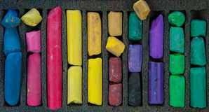 Set of multicolored pastel chalks on box Royalty Free Stock Photography