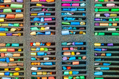Set of multicolored pastel crayons, top view. Royalty Free Stock Photos