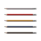 Set of Multicolored Pencils with Erasers  Royalty Free Stock Photography