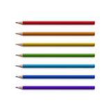 Set of Multicolored Pencils  on White Stock Photos