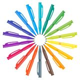 Set of multicolored pens placed in a circle. Vector illustration Stock Photos