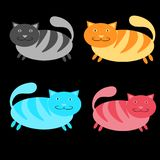 Set of multicolored, pink, blue, red and gray, striped, thick, cats on a black background. Vector illustration Stock Photos