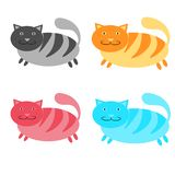 Set of multicolored, pink, blue, red and gray, striped, thick, cats on a white background. Vector illustration Stock Image