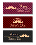 Set of multicolored plaid banners for the Father's Day Stock Photos