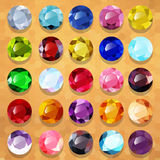 Set of multicolored precious stones round Royalty Free Stock Images