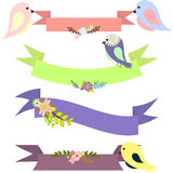 Set of multicolored ribbons with floral bouquets and birds Stock Photo