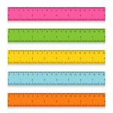 Set of multicolored school measuring rulers with centimeters and inches. Vector illustration Stock Photo