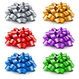 Set of multicolored shiny gift bows Royalty Free Stock Images