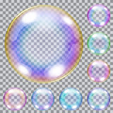 Set of multicolored soap bubbles Stock Photo