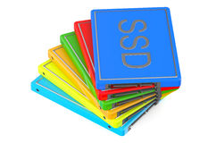 Set of multicolored Solid State Drive SSD Stock Photography