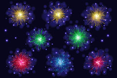 Set of multicolored sparkling vector fireworks Stock Photography