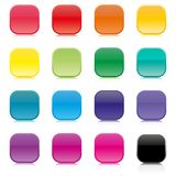 Set of multicolored square buttons, vector illustration. Stock Photography