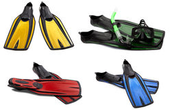 Set of multicolored swim fins, masks and snorkel Royalty Free Stock Images