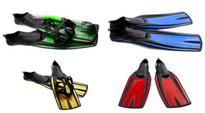 Set of multicolored swim fins, masks and snorkel for diving Royalty Free Stock Image