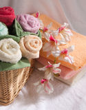 Set of multicolored towels Stock Image