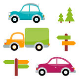 Set of multicolored toy cars with trees, arrows, pointers Stock Photos