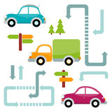 Set of multicolored toy cars with trees, arrows, pointers Royalty Free Stock Image