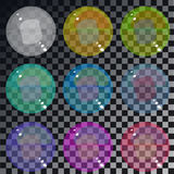 Set of multicolored transparent glass spheres on a plaid backgro. Und Stock Photography