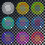 Set of multicolored transparent glass spheres on a plaid backgro. Und Stock Images