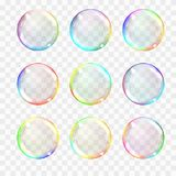 Set of multicolored transparent glass spheres. Transparency only. In vector format. Can be used with any background. Realistic vector illustration stock illustration