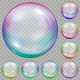 Set of multicolored transparent soap bubbles. With glares on transparent background. Transparency only in vector file Stock Photography