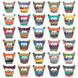 Set of multicolored vector owls Stock Image