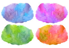 Set of multicolored vector stain watercolor background Stock Photos