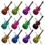 Set of multicolored violins on white. Background Royalty Free Stock Photography