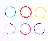 Set of multicolored watercolor circles Royalty Free Stock Photography