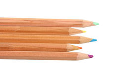 Set of multicolored wood pencils. Royalty Free Stock Photography
