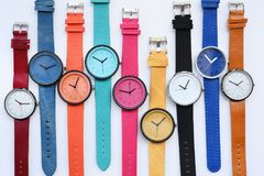 Set of multicolored wristwatches. Isolated on white background Stock Photo