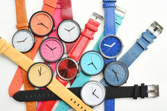 Set of multicolored wristwatches Royalty Free Stock Photography
