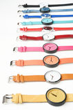 Set of multicolored wristwatches Stock Images