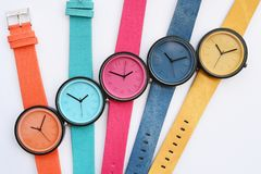 Set of multicolored wristwatches. Isolated on white background Royalty Free Stock Photo