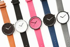 Set of multicolored wristwatches. Isolated on white background Stock Photos