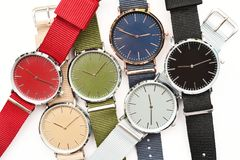 Set of multicolored wristwatches. Isolated on white background Royalty Free Stock Image