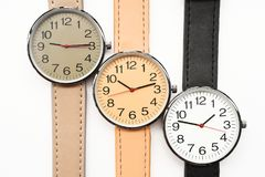 Set of multicolored wristwatches. Isolated on white background Stock Images