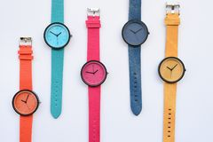 Set of multicolored wristwatches. Isolated on white background Royalty Free Stock Photography