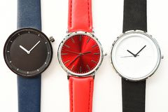 Set of multicolored wristwatches. Isolated on white background Royalty Free Stock Photos