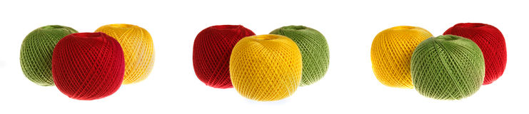 Set of multicolored yarn. Colored yarn on a white background royalty free stock photos