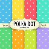 Set of multicolour polka dot seamless patterns. Set of colorful polka dot seamless patterns. Patterns and setting with label and mesh shadow on separate layers Stock Photography