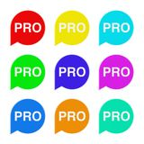 Set of Multicolour Speech Bubble Tag Lable with Pro Sign. 3d Ren Royalty Free Stock Image