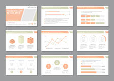 Set of multicolour template for multipurpose presentation slides with graphs and charts. Leaflet, annual report, book Royalty Free Stock Photography