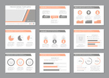 Set of multicolour template for multipurpose presentation slides with graphs and charts. Leaflet, annual report, book Stock Images