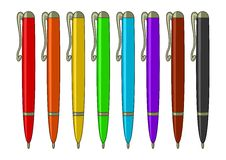 Set of multicoloured pens. Pens, ball-points, multi-coloured set: six colours of a rainbow, brown and black Stock Photos