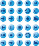 Set of multimedia blue buttons Royalty Free Stock Photo