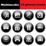 Set of multimedia glossy icons Stock Image